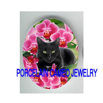 BLACK CAT WITH PINK ORCHID* UNSET PORCELAIN CAMEO CAB