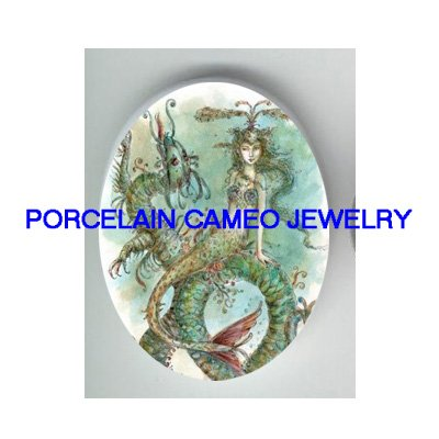 VICTORIAN  ROCOCO MERMAID RIDING SEA * UNSET PORCELAIN CAMEO CAB
