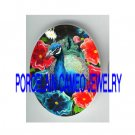 BLUE PEACOCK COLORFUL POPPY * UNSET PORCELAIN CAMEO CAB