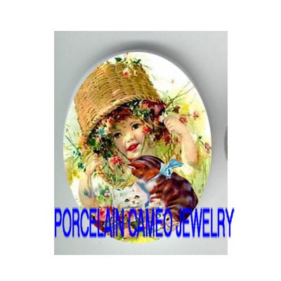 VICTORIAN FLOWER BASKET GIRL KITTY CAT * UNSET PORCELAIN CAMEO CAB