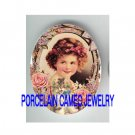 VICTORIAN ROSE VIOLET GIRL KITTY CAT * UNSET PORCELAIN CAMEO CAB