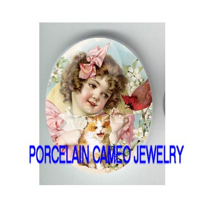 VICTORIAN PINK RIBBON GIRL KITTY CAT CARDINAL BIRD* UNSET PORCELAIN CAMEO CAB