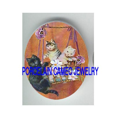 3 VICTORIAN BLACK KITTY CAT PANSY BASKET* UNSET PORCELAIN CAMEO CAB