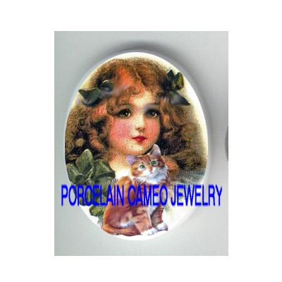 VICTORIAN GREEN RIBBON GIRL KITTY CAT * UNSET PORCELAIN CAMEO CAB