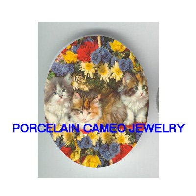 3 VICTORIAN KITTY CAT DAISY FLOWER* UNSET PORCELAIN CAMEO CAB
