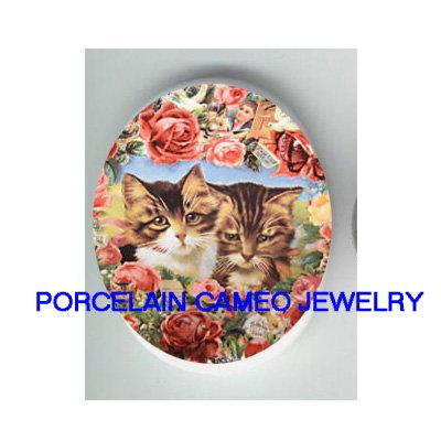 2 VICTORIAN KITTY CAT WITH ROSE* UNSET PORCELAIN CAMEO CAB
