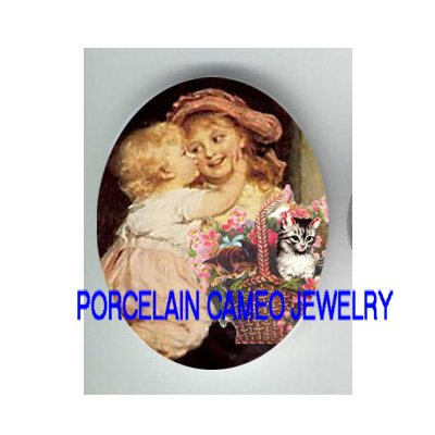 2 VICTORIAN LITTLE SISTER KISS BIG SISTER KITTY CAT FLOWER BASKET PORCELAIN CAMEO CAB