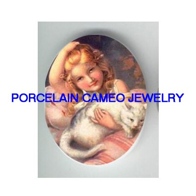 VICTORIAN PINK GIRL CUDDLING WHITE KITTY CAT * UNSET PORCELAIN CAMEO CAB