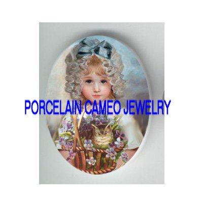 VICTORIAN BLUE GIRL KITTY CAT VIOLET BASKET* UNSET PORCELAIN CAMEO CAB