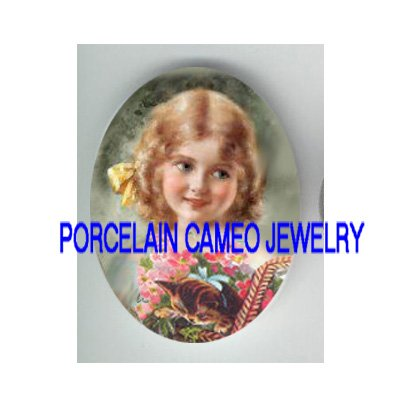 VICTORIAN GIRL KITTY CAT FORGET ME NOT BASKET PORCELAIN CAMEO CAB