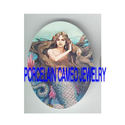 VICTORIAN  LONG HAIR MERMAID* UNSET PORCELAIN CAMEO CAB
