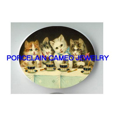 VICTORIAN KITTY CAT COFFEE TEATIME PORCELAIN CAMEO CAB