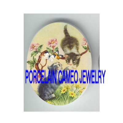 2 VICTORIAN KITTY CAT CHASING BUTTERFLY* UNSET PORCELAIN CAMEO CAB