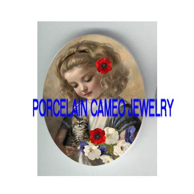 VICTORIAN POPPY GIRL KITTY CAT * UNSET PORCELAIN CAMEO CAB