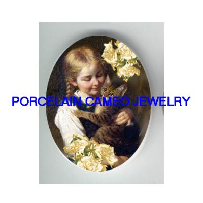 VICTORIAN GIRL KITTY CAT  PEONY FLOWER* UNSET PORCELAIN CAMEO CAB