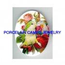 PARAKEET BUDGIE VICTORIAN ROSE CAMEO PORCELAIN 30X40