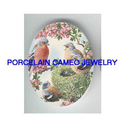 4 ROBIN BIRD FAMILY NEST CHERRY BLOSSOMS * UNSET PORCELAIN CAMEO CAB 30X40