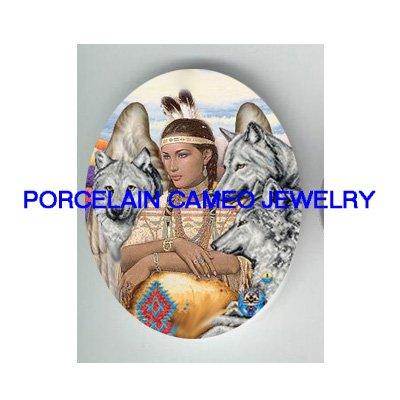 *INDIAN ANGEL WITH 3 GREY WOLF * UNSET PORCELAIN CAMEO CAB