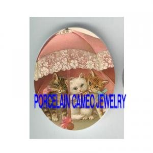 3 VICTORIAN KITTY CAT PINK UMBRELLA  * UNSET PORCELAIN CAMEO CAB