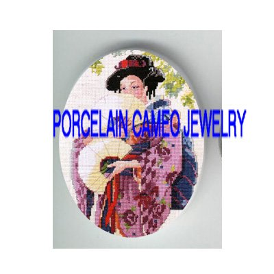 JAPAN GEISHA DANCING WITH FAN * UNSET PORCELAIN CAMEO CAB