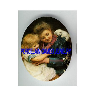 VICTORIAN CAT TEACHING NUMBERS * UNSET PORCELAIN CAMEO CAB
