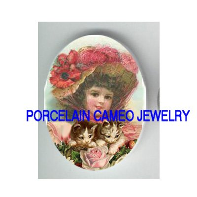 VICTORIAN POPPY GIRL 2 KITTY CAT ROSE* UNSET PORCELAIN CAMEO CAB