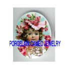 VICTORIAN ROSE HAT GIRL 2 KITTY CAT  * UNSET PORCELAIN CAMEO CAB