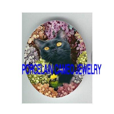 BLACK CAT COLORFUL HYDRANGEA  * UNSET PORCELAIN CAMEO CAB