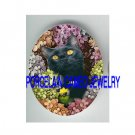 BLACK CAT COLORFUL HYDRANGEA  * UNSET PORCELAIN CAMEO CAB