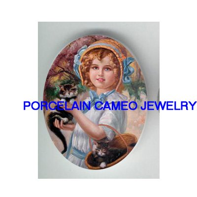 VICTORIAN BLUE RIBBON HAT GIRL 2 KITTY CAT* UNSET PORCELAIN CAMEO CAB