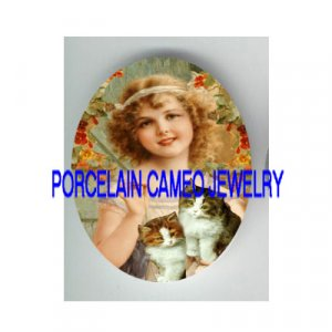VICTORIAN SWEET GIRL KITTY CAT FLOWER* UNSET PORCELAIN CAMEO CAB