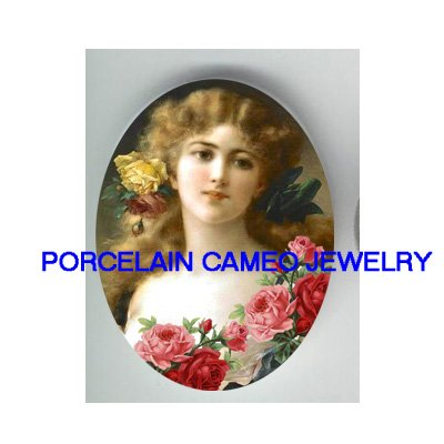 VICTORIAN SWEET PINK ROSE LADY* UNSET PORCELAIN CAMEO CAB