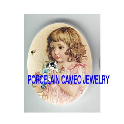 VICTORIAN ROSE GIRL KITTY CAT BEE* UNSET PORCELAIN CAMEO CAB