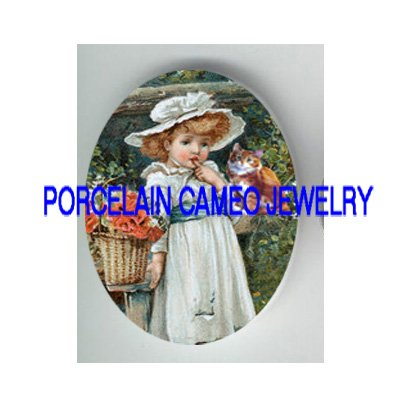 VICTORIAN POPPY GIRL WITH KITTY CAT * UNSET PORCELAIN CAMEO CAB