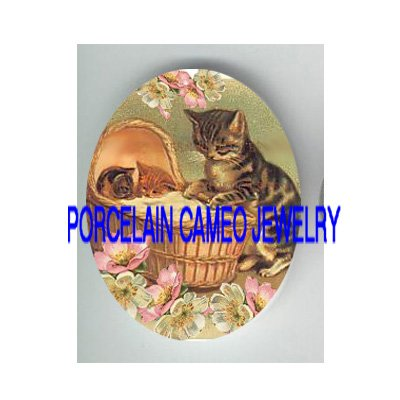 VICTORIAN CAT MOM ROCKING 2 KITTY CAT SLEEP* UNSET PORCELAIN CAMEO CAB