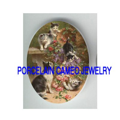 5 VICTORIAN KITTY CAT PLAY ROSE BASKET* UNSET PORCELAIN CAMEO CAB