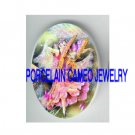 DANCING PINK BUTTERFLY FAIRY * UNSET PORCELAIN CAMEO CAB