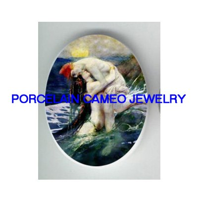 VICTORIAN MERMAID PRINCE * UNSET PORCELAIN CAMEO CAB