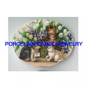 3 VICTORIAN KITTY CAT LILY OF VALLEY VIOLET * UNSET PORCELAIN CAMEO CAB