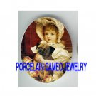 VICTORIAN GIRL HOLD PUG DOG ROSE  * UNSET PORCELAIN CAMEO CAB