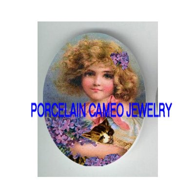 VICTORIAN VIOLET GIRL KITTY CAT  * UNSET PORCELAIN CAMEO CAB