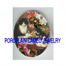 VICTORIAN KITTY CAT MOM BABY FAMILY IRIS * UNSET PORCELAIN CAMEO CAB