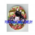 4 VICTORIAN KITTY CAT ROSE FORGET ME NOT WAGON * UNSET PORCELAIN CAMEO CAB