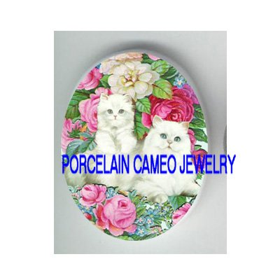 PERSIAN CAT FAMILY ROSE FORGET ME NOT * UNSET PORCELAIN CAMEO CAB