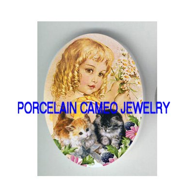 VICTORIAN DAISY BLONDE GIRL 2 KITTY CAT* UNSET PORCELAIN CAMEO CAB