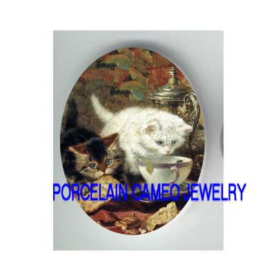 2 VICTORIAN  KITTY CAT TEATIME COOKIE* UNSET PORCELAIN CAMEO CAB