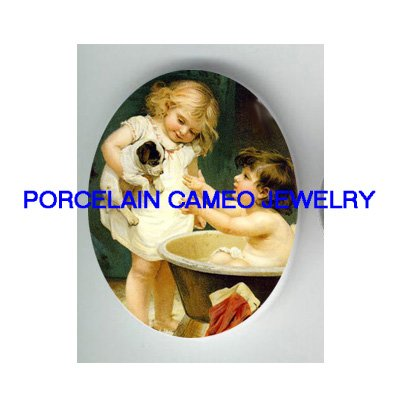 2 VICTORIAN GIRL BATHING PUPPY DOG* UNSET PORCELAIN CAMEO CAB