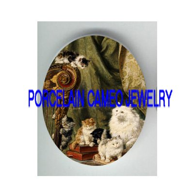 VICTORIAN CAT FAMILY PLAY HARP * UNSET PORCELAIN CAMEO CAB