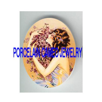 VICTORIAN LADY HOLD VIOLET* UNSET PORCELAIN CAMEO CAB