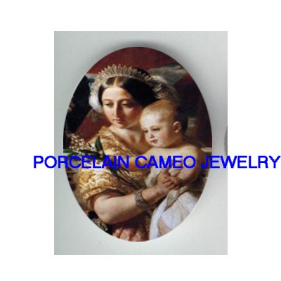 QUEEN VICTORIA HOLDING HER SON* UNSET PORCELAIN CAMEO CAB